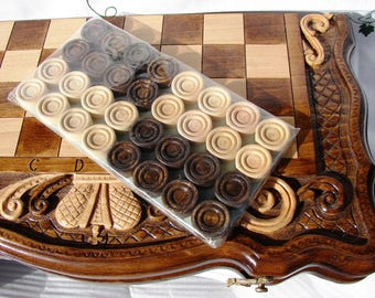 3 in 1 Armenian Handmade Backgammon + Chess + Checkers Set Board Game Hand carved from Natural Wood, Nardi Nardy, Gift for him