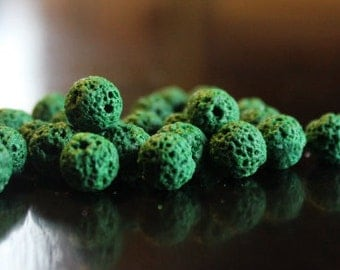 8 mm natural lava beads, dyed, round, 25 beads, green, 1 mm hole, great for essential oils
