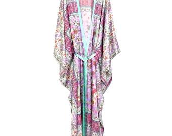 Silk kaftan, pure silk satin maxi full length kaftan kimono in a lilac and sea green,paisley print, silk dressing gown, gift for women.