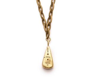 Brass Pyramid Pendant Necklace, Handcrafted Pendant, Solid Brass, Statement Necklace, Long Necklace, Brass Chain, Egyptian Design, Unique