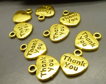 BULK - 50 Antique Gold Thank you Charms - Heart Shaped Charms Wholesale Lot -MC1216
