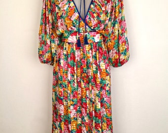 DIANE FREIS!!! Spectacular 1980s 'Diane Freis' colourful floral print dress with bead and sequin detail