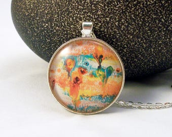 Orange and Blue Graphic Glass Pendant Necklace