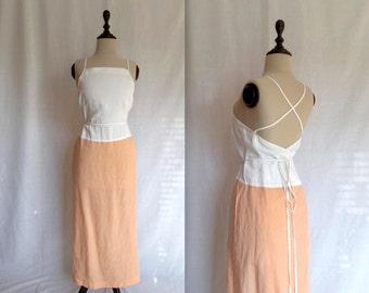 peaches and cream linen wrap dress