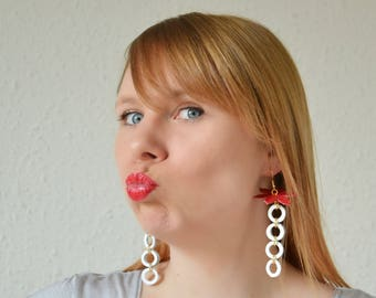 Summer flower earrings, geometric jewelry, Long leather earrings, Statement earrings, Long summer earrings, White wife jewelry, White gift