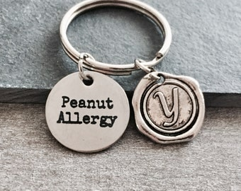 Medical Alert, Medic alert, Peanut Allergy, Nut Allergy, food allergy, Emergency, Peanut allergy Gifts, Silver Keychain, Silver Keyring