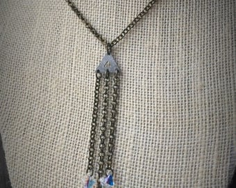 Sleek & Stylish Brass Necklace With Mini Triple Chain Tier And AB Swarovski Crystals Accents