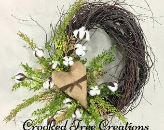 Cotton Boll Wreath, Heart Wreath, Valentine Wreath, Cotton Wreath, Romantic Wreath, Rustic Wreath, Wedding Wreath, Woodland Wreath, Cotton