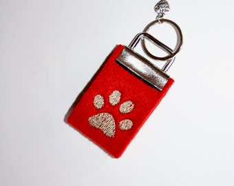 Mini key chain made of felt red paw Brown