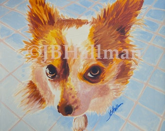 """Long Haired Chihuahua - 10x8"""" Print from Original Acrylic Dog Portrait"""