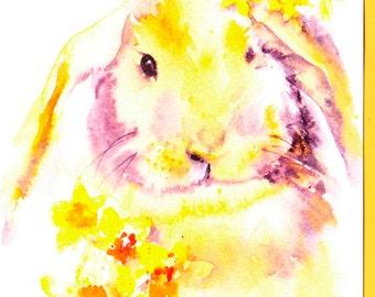 Easter Bunny Card, Daffodil Card, Easter Card, Fun Bunny, Cute Easter Card,  Rabbit Card, Golden Rabbit, Easter bonnet card, Spring Card,