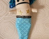 Shocking Blue Haired Quirky Mermaid Doll with Detachable Tail
