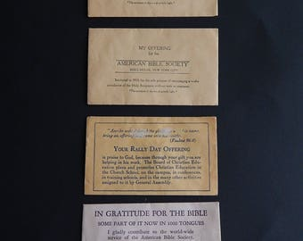 4 Church Vintage Offering Envelopes American Bible Society New York Christian School