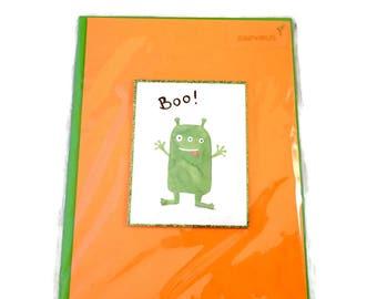 Little Green Monster Boo Halloween Card, Papyrus Greetings Halloween Card Little Green Monster, Green Glitter Border, Green Envelope