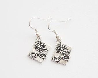 Teacher Earrings, Teacher Gifts, Teacher Jewelry, Book Earrings, Best Teacher Ever Earrings, Best Teacher Ever Gift, Reader Earrings