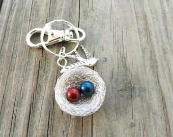 1,2,3,4,5,6,7,8,9,10,11,12,birthstone,nest keychain,birdnest keychain,pearl keychain,gift for mom,personalised keychain,gift for grandma