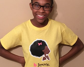 Natural Hair Afro Youth T shirts,t shirts,afro american,black kids,children t shirts,girls t shirts,educational,happy,learning,smart,kid