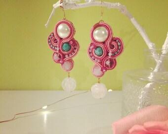 soutache earrings, handmade earrings, statement earrings, bride earrings, bridesmaid earrings, summer earrings, hypoallergenic earrings