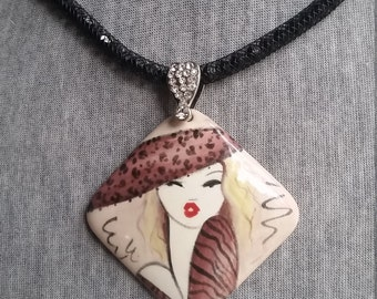 Handpainted Necklace - Animal Print Jewelry - Statement Jewelry - Short Necklace - Wearable Art - Unique Jewelry - Gift For Women - Pendant