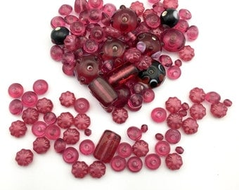115 glass beads mix pink shades, 8 to 20mm #PV 029
