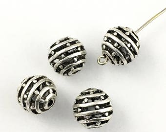 4 round metal beads ,15.5mm,antique silver  #PM026