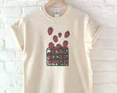 Strawberry Shirt, Food Shirt, Screen Print Shirt