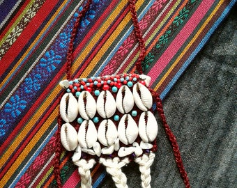 Cowrie SHell's  NECKLACE***TIBET inspired***XL pendant