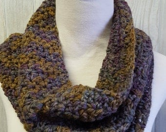 Crochet cowl, neckwarmer, hand dyed yarn, purple and golden brown, textured cowl, warm accessories, winter gift, christmas gift, ooak