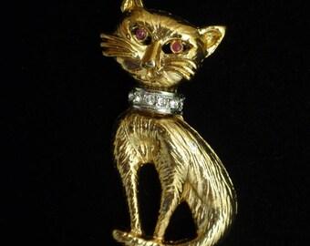 Cat Kitten with Rhinestone Collar Brooch Pin