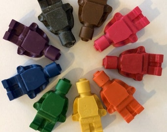 5 SETS of 8 building block mini figure crayons - customizable - kids' birthday party favors, Easter baskets, and more!