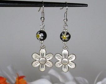 Daisy Charm Earrings with Glass Beads