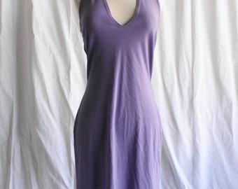 90s Vintage. Halter. Low Plunge. Purple. Dress
