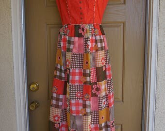 Vintage 1970s maxi dress 70s medium