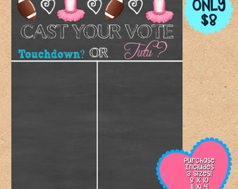 Chalkboard Gender Reveal, Touchdown or Tutu Chalkboard Sign,Touchdown or Tutu banner,Chalkboard Gender Reveal,Gender Reveal Baby Shower