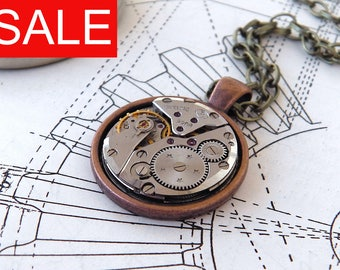 SALE - Steampunk Necklace / Pendant - Featuring Vintage Watch Gears. Copper Backed Silver Mechanism.