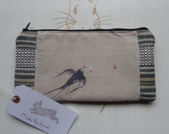 Handmade Bird Makeup Bag Pencil Case Swallow Linen Sparkle Trim Padded Lined