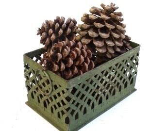 Vintage French Metal Lattice work  Painted shabby chic Basket Casket Floral Storage Container Decorators piece