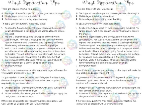 Vinyl Application Tips Digital Download Printable Application - Custom vinyl decal application instructionsapplication etsy