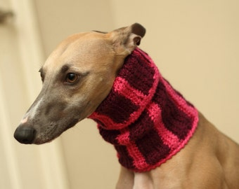 Raspberry Whippet snood, Whippet snood, Dog accessories, neck warmer, dog neck warmer