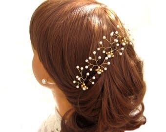 Hair pins wedding white beads, Hair needles bridal hairpin connector White Wedding pearls