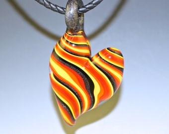 Heart Shaped Glass Pendant, Red, Black, Yellow - boro, flamework, lampwork, handmade