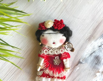 Frida and the little monkey Doll Brooch. Handmade.