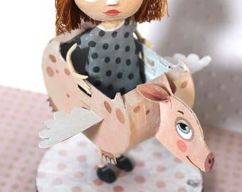 "Sculpture ""flying pig"", OOAK doll"