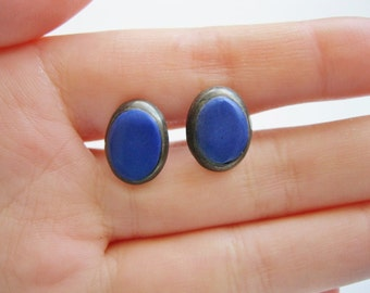 Blue Stone Sterling Silver Vintage Stud Earrings