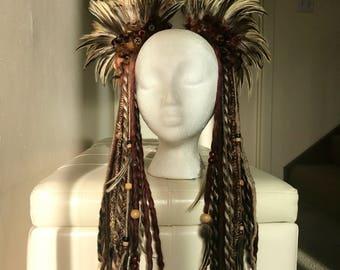 Brown Tribal Feather Headdress