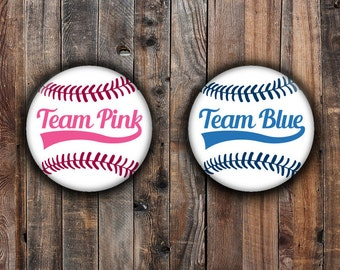Baseball gender reveal pins.  Team Pink and Team Blue.