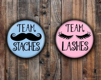 Cute Lashes or Staches gender reveal pins.  Pink and Blue.