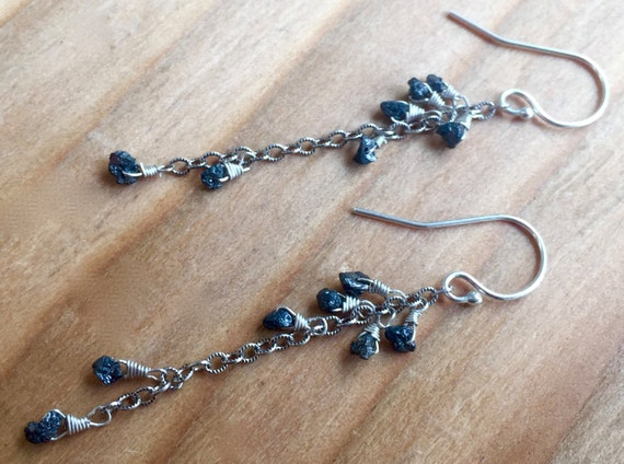 Raw Black Diamond Dangle Earrings Minimalist Diamond Earrings Rough Black Diamonds April Birthstone