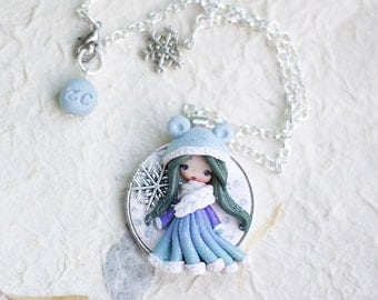 polymer clay necklace / fairy/ fimo/ clay / zingara creativa/moon