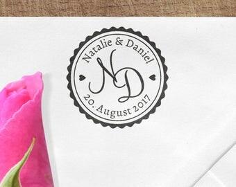 Initials wedding stamps, wooden stamp, date, name, Monogram, customizable, MONST, STDST, EINLST, thank